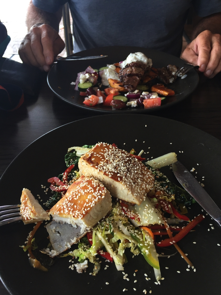 Couldn't leave Port Lincoln without trying the blue fin tuna (for me) and the salt-bush lamb for Steve. Very, very good, believe me!