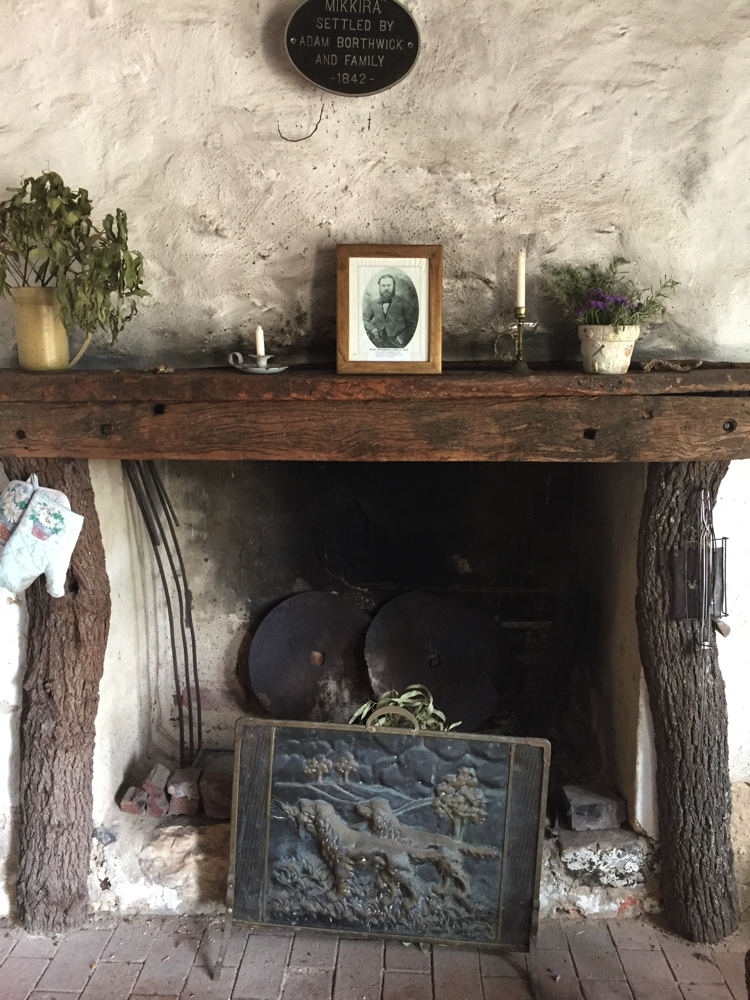 The old hearth inside Mikkira Homestead.