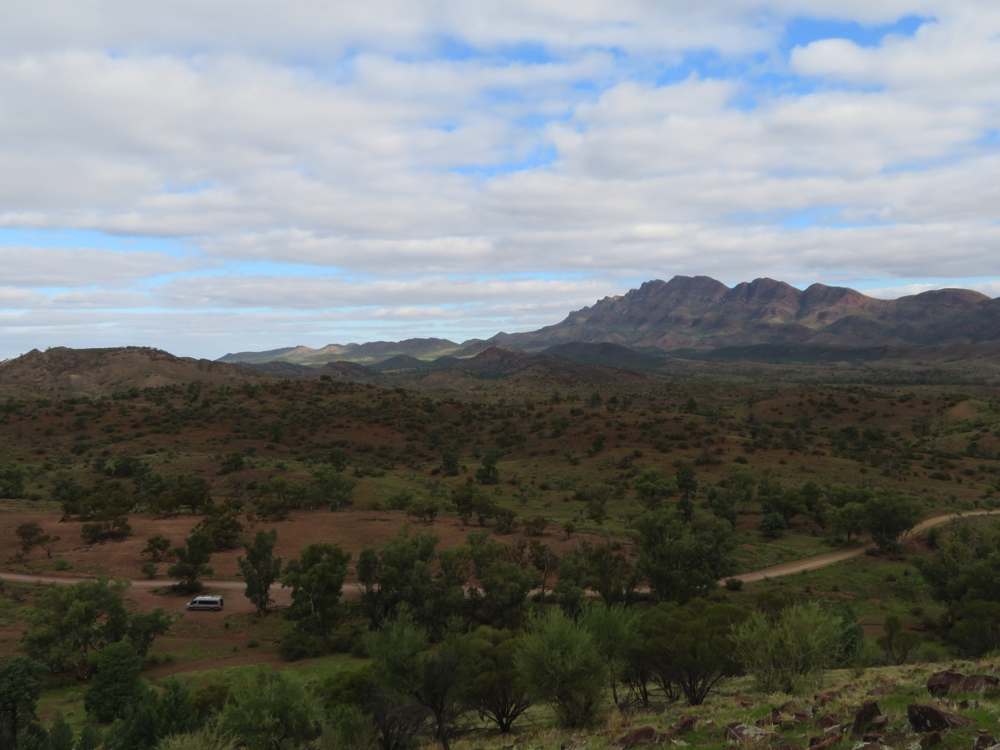 Yes we did hike up this very steep hill to take a photo of Priscilla, and the Flinders Ranges. Moralana Scenic Drive