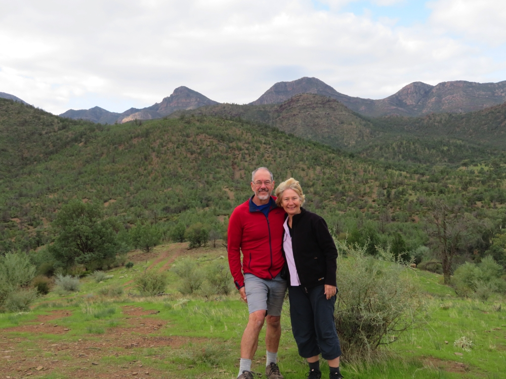 That's us, posed in this magnificent countryside. Moralana Scenic Drive.