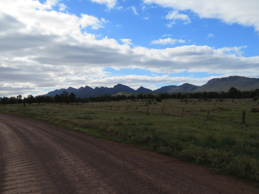 The Wilpena Ranges, part of the Flinders National Park, as seen from the Moralana Scenic Drive. Yes, a few corrugations, but not for long and they were minor.