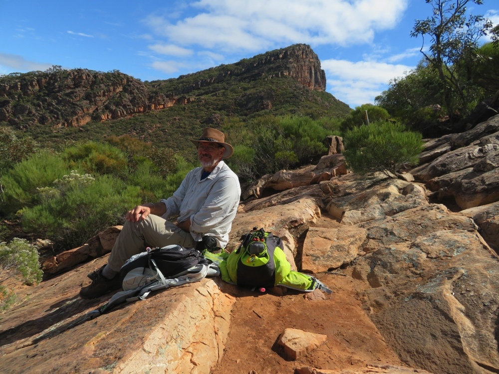 Lunch break at Tanderra Saddle. St Mary's Peak in the background.