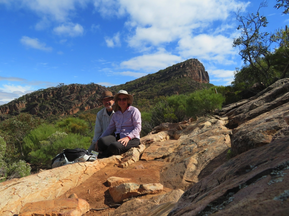 After a VERY tough climb we're at Tanderra Saddle with St Mary's Peak behind us.