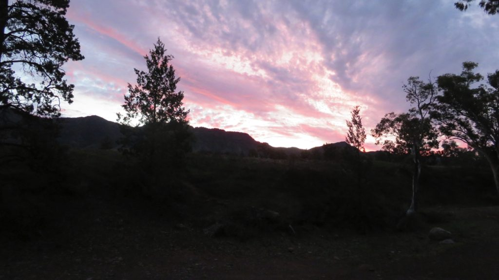 A glorious sunset over the range from our campsite at Aroona Ruins.