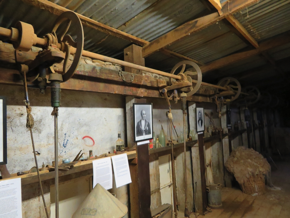 The shearing equipment still remains in the old shearing shed - though this section of it is now a museum. Beltana Station.