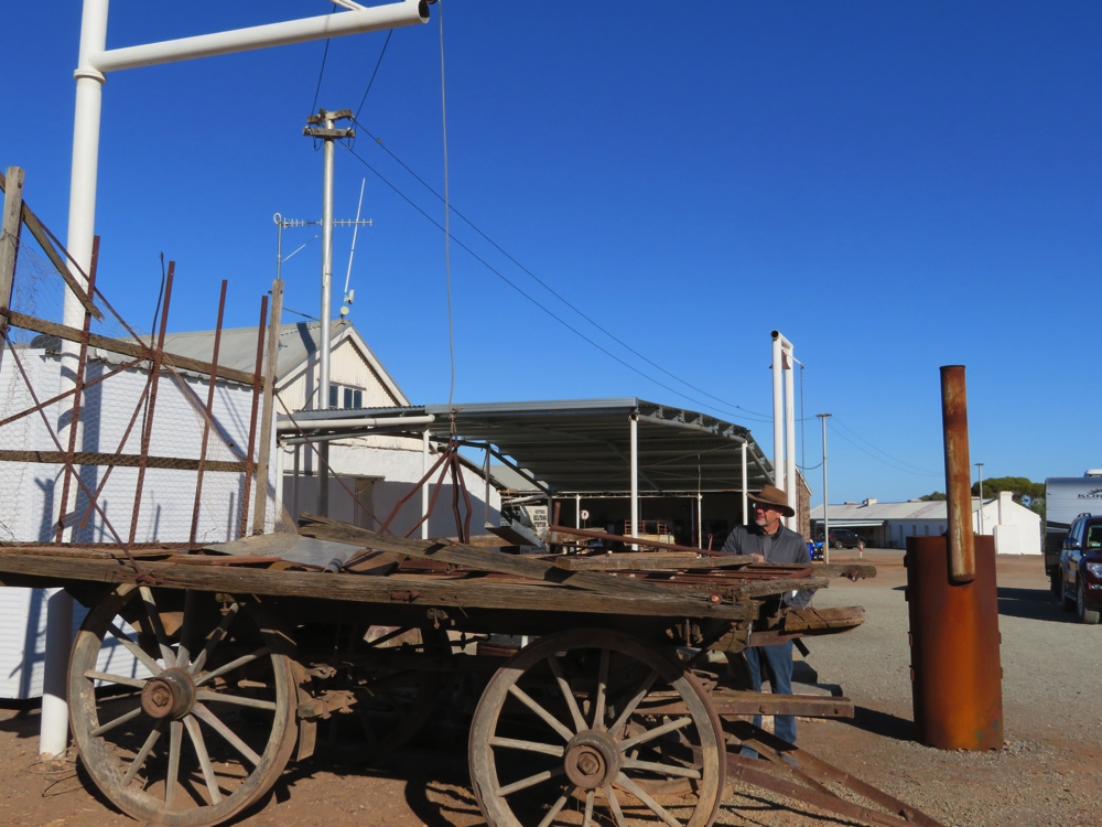 The original shearing shed is in the background. This is the trolley and lifting apparatus used to haul the big bales of wool.