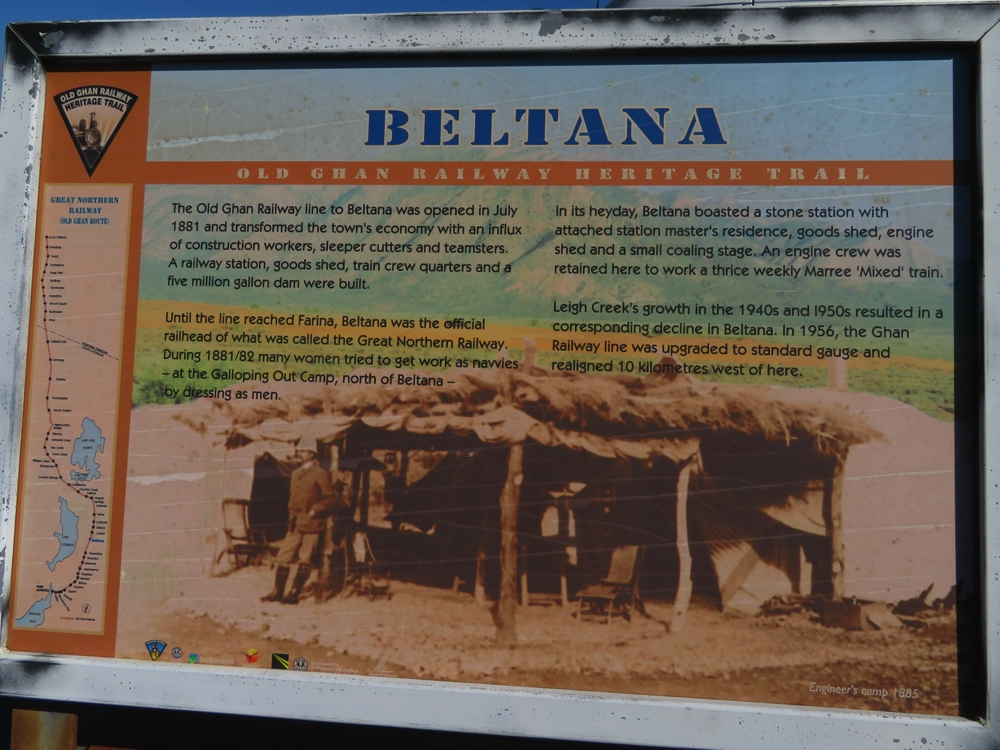 Information board about Beltana's role in the Ghan history.