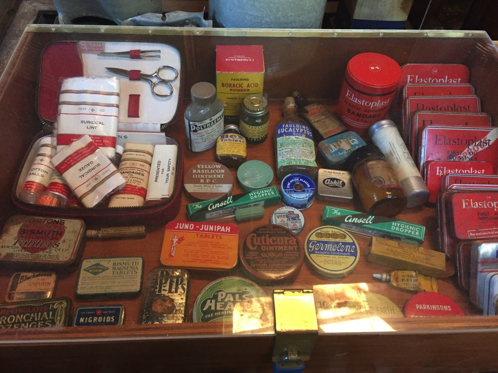 The first aid kit for the Station in the museum. I remember elastoplast in those tin boxes.