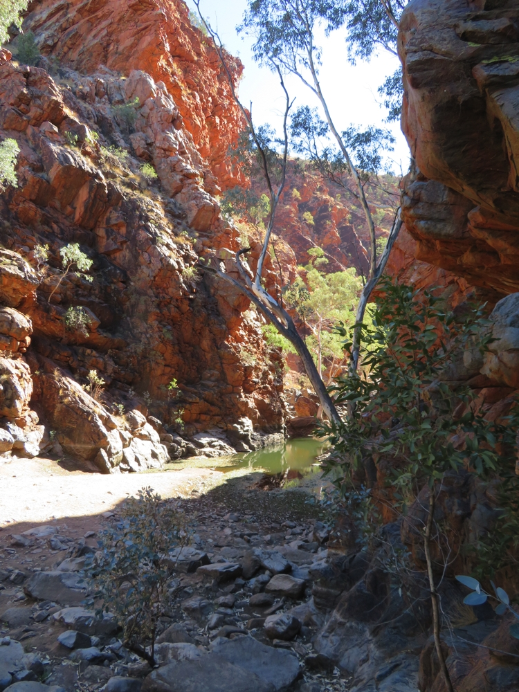 The beautiful red craggy cliffs at Ellery Big Hole.