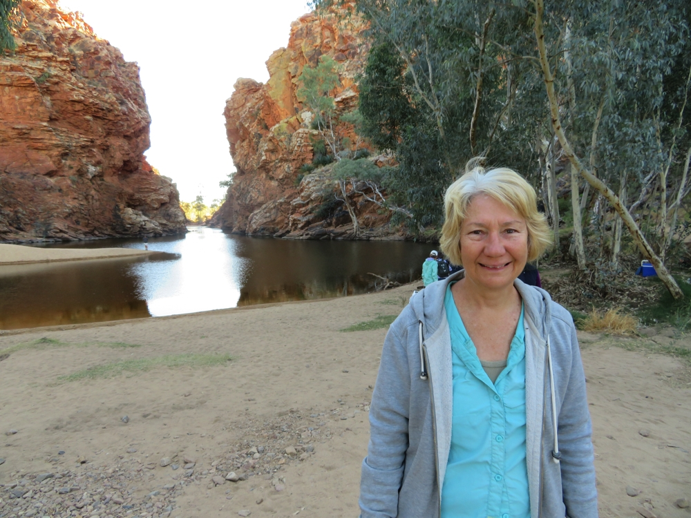 Denise at Ellery Big Hole. For perspective do you see the person standing on the spit of sand that juts into the pool?