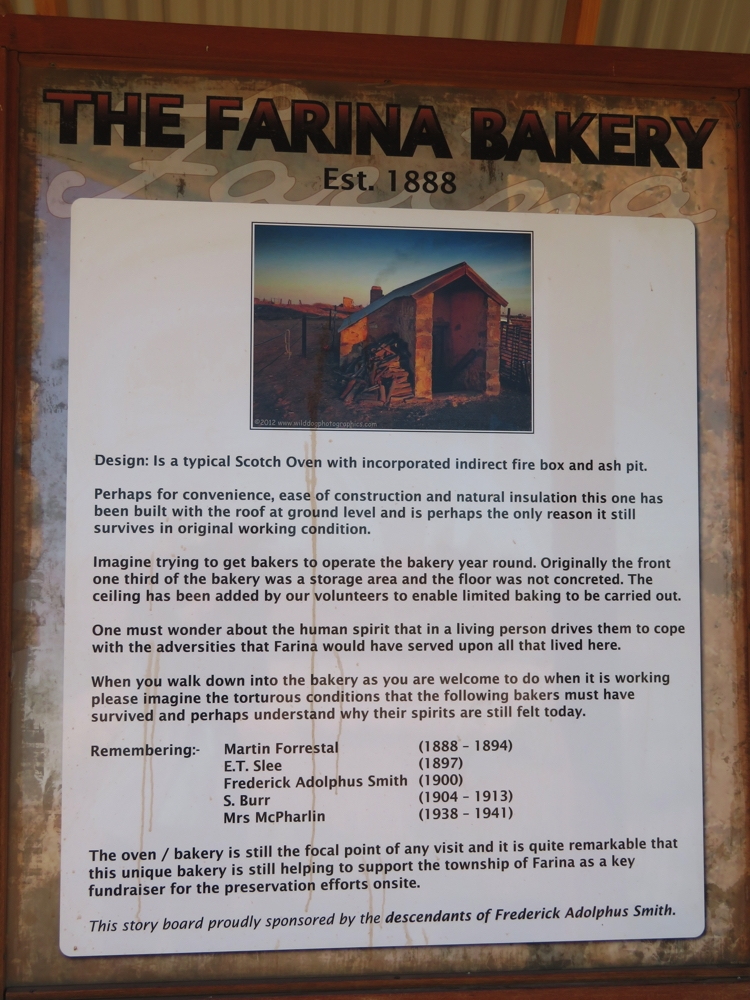 The bakery information board.