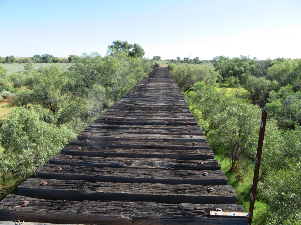 The rail bridge for the Ghan at Farina. You can see where the rails have been removed.