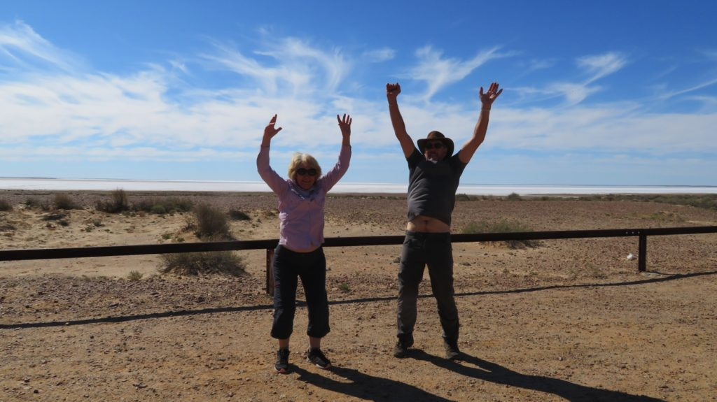 Yay! We're at the lowest point in Australia - Lake Eyre, 10 metres below sea level.