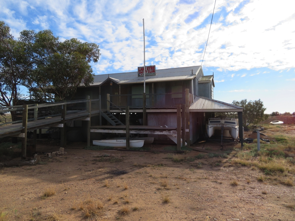 Lake Eyre yacht club at Marree. They've got quite a few boats.