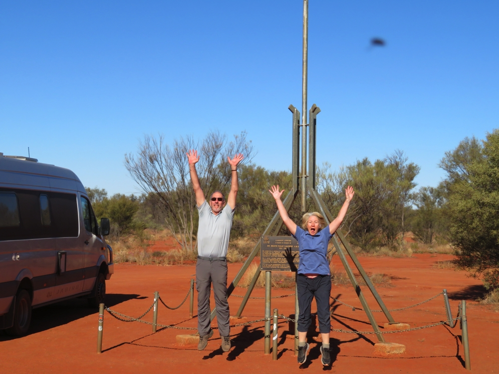 Yay! We made it to the very centre of Australia.
