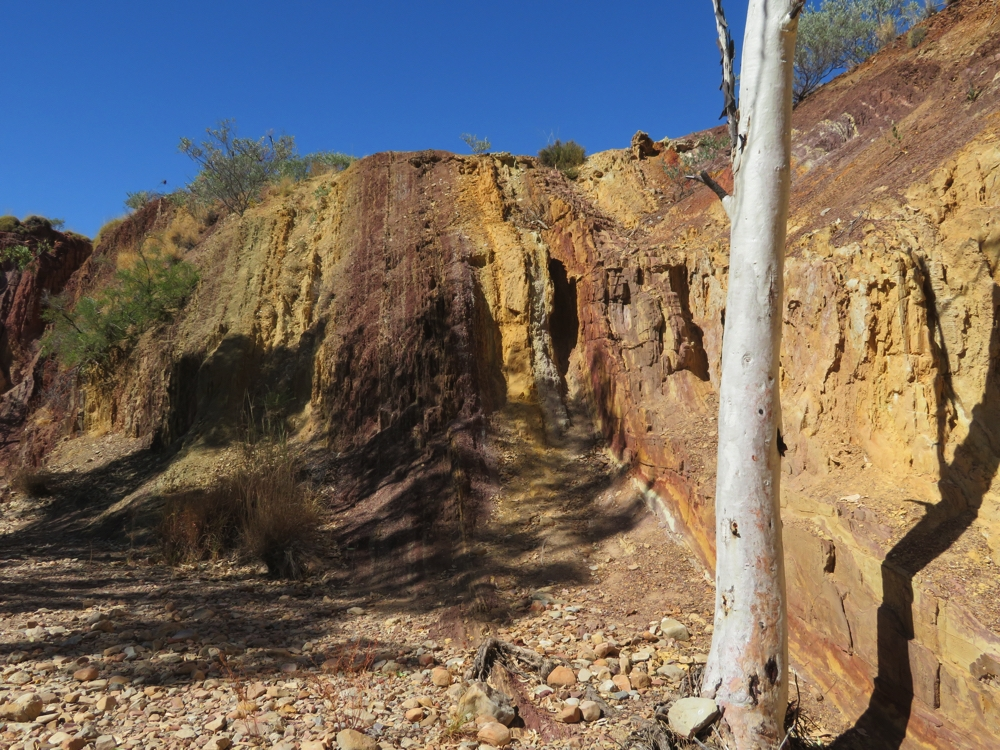 This photograph shows the colours of the ochre - even more beautiful in real life. Ochre Pits