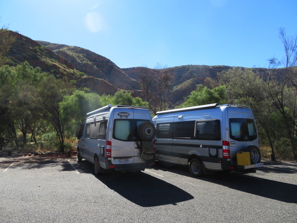 The Jabirus in consultation at the West MacDonnell Ranges.