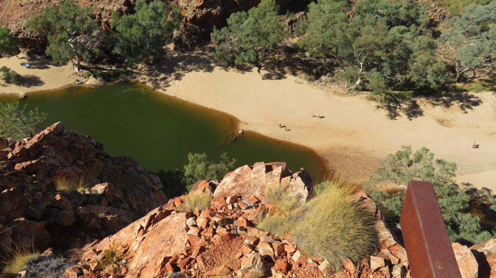 Overlooking the pool at Ormiston Gorge. Once more beautiful white sands in the river bed, while the cliffs at dark red.
