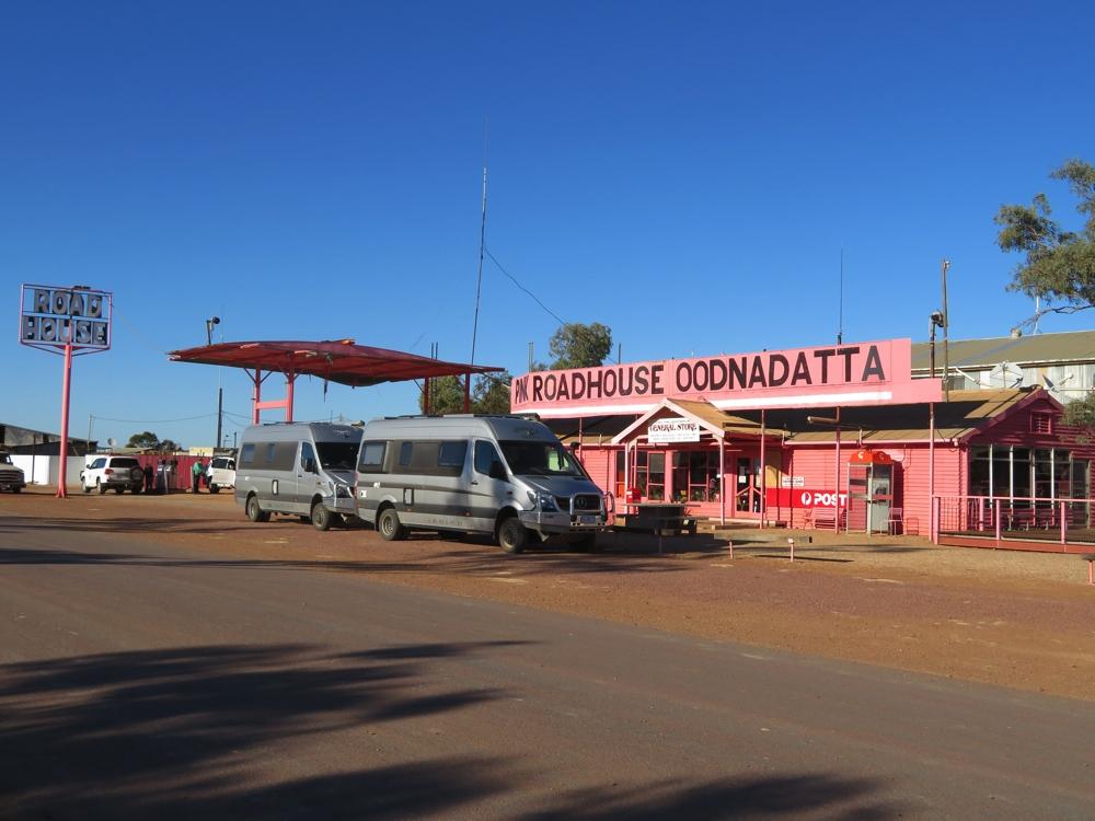 The Trakka Jabirus at the Pink Roadhouse Oodnadatta.
