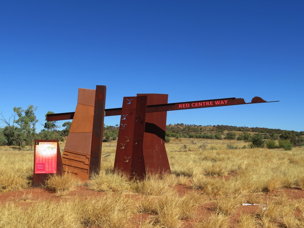 The official marker of the Red Centre Way