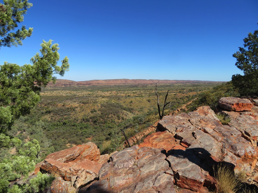 Looking away from the ranges, at Serpentine Gorge Lookout.