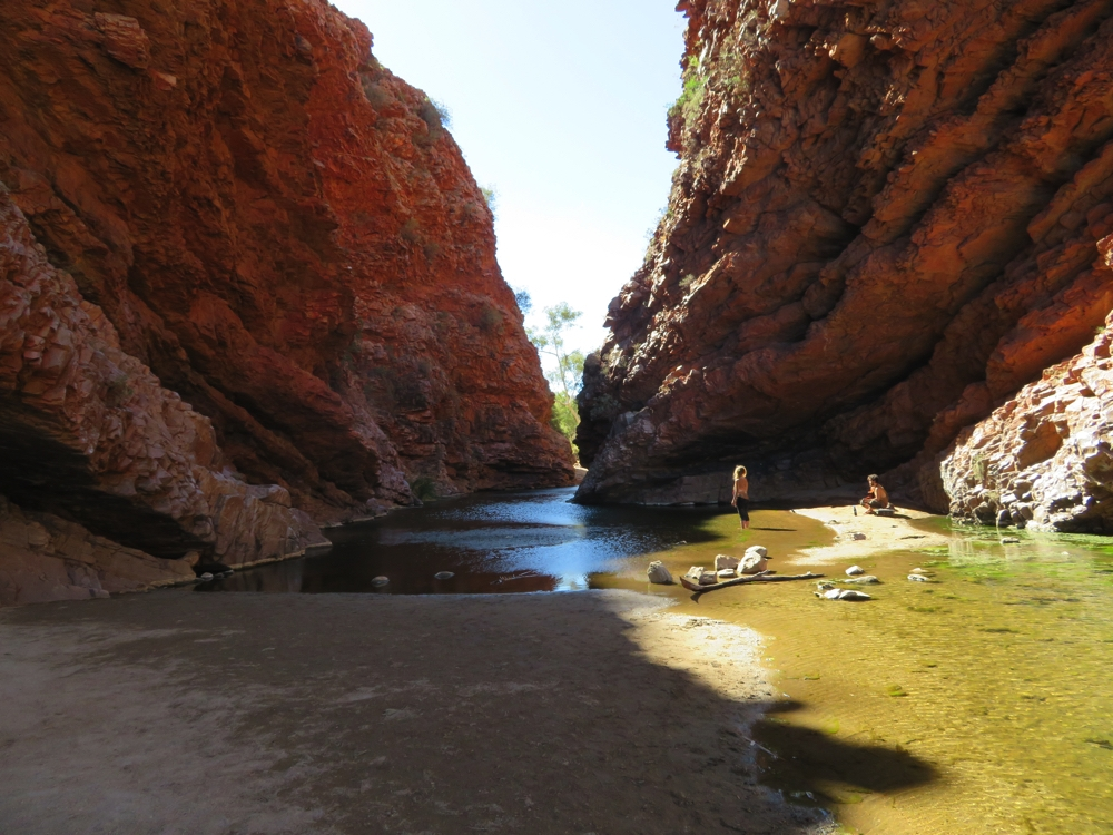 A very pretty chasm where two caterpillars meet. There is a sense of tranquility around the waterhole. Simpsons Gap