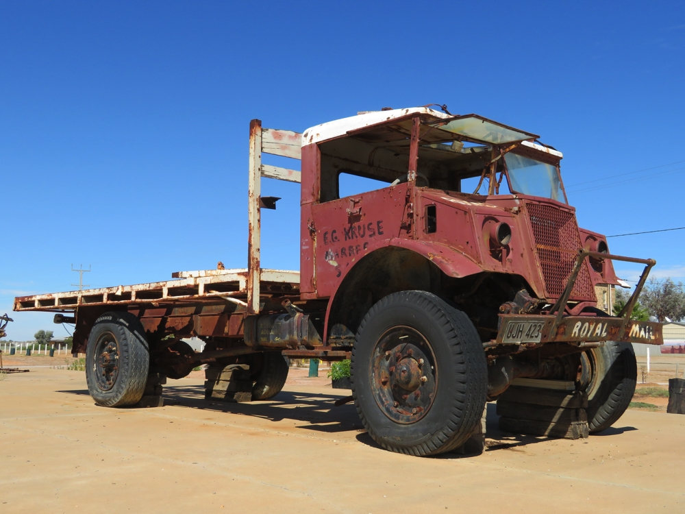 Tom Kruse's contribution to outback people is not forgotten - here is the truck he used to deliver the mail and supplies along the Birdsville Track. There's also a museum of photos, memorabilia and a short documentary that was interesting to view. Altogether a pretty amazing man.