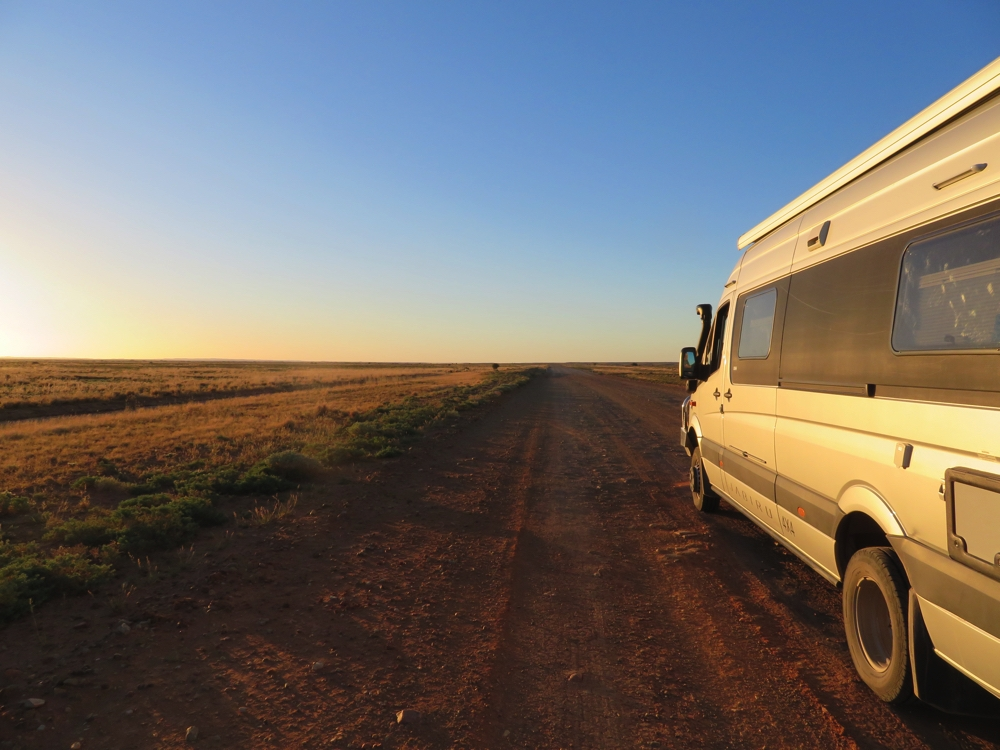 And so we begin our travels on unsealed roads. Bring it on! The road south of Marree. Note the flat countryside.
