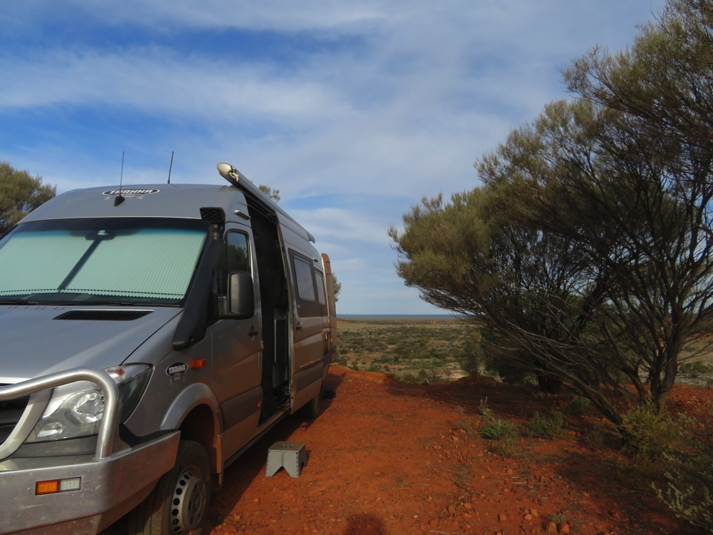 Camping on the edge of the escarpment at Giles Breakaway. Million dollar views out through the back doors.
