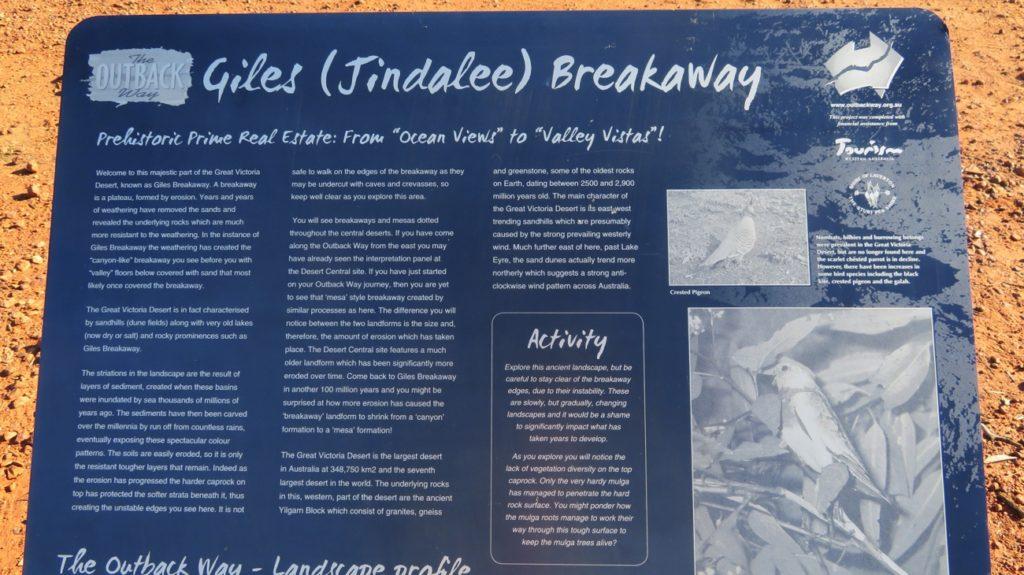 Interpretaive Board describing how the Giles Breakaway, and other breakaways, form.