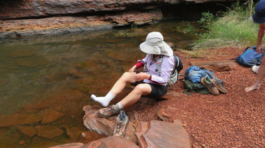 No choice but to get wet - off come the shoes and socks and up go the trousers. On the way to Handrail Pool, Weano Gorge.