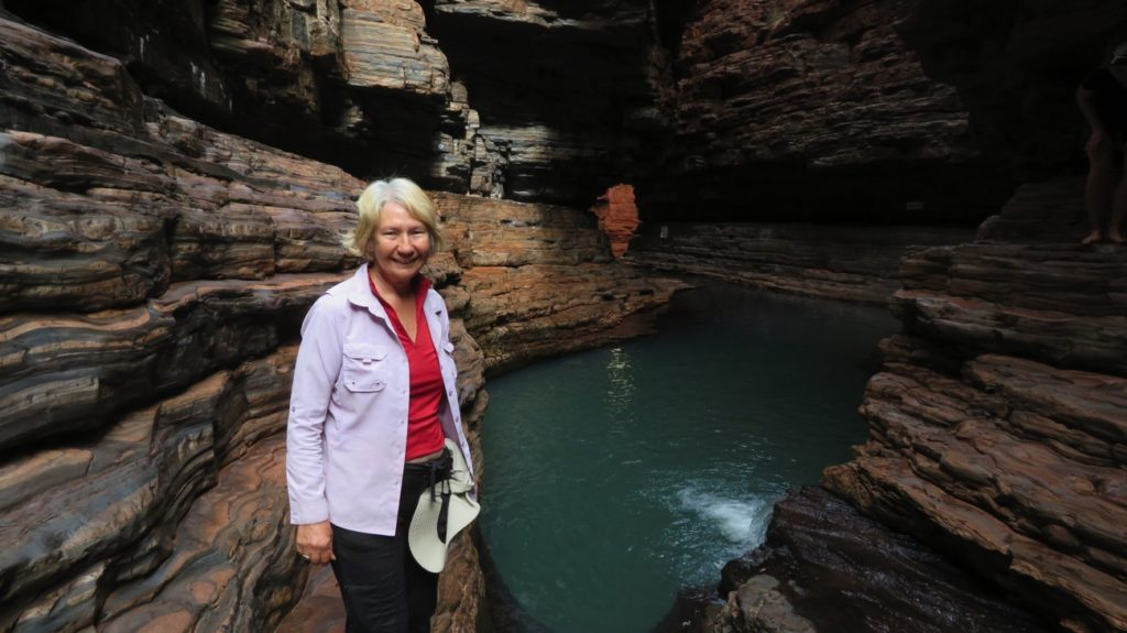 Kermit Pool, Weano Gorge. At the far end it continues into another narrow chasm, but no entry permitted.