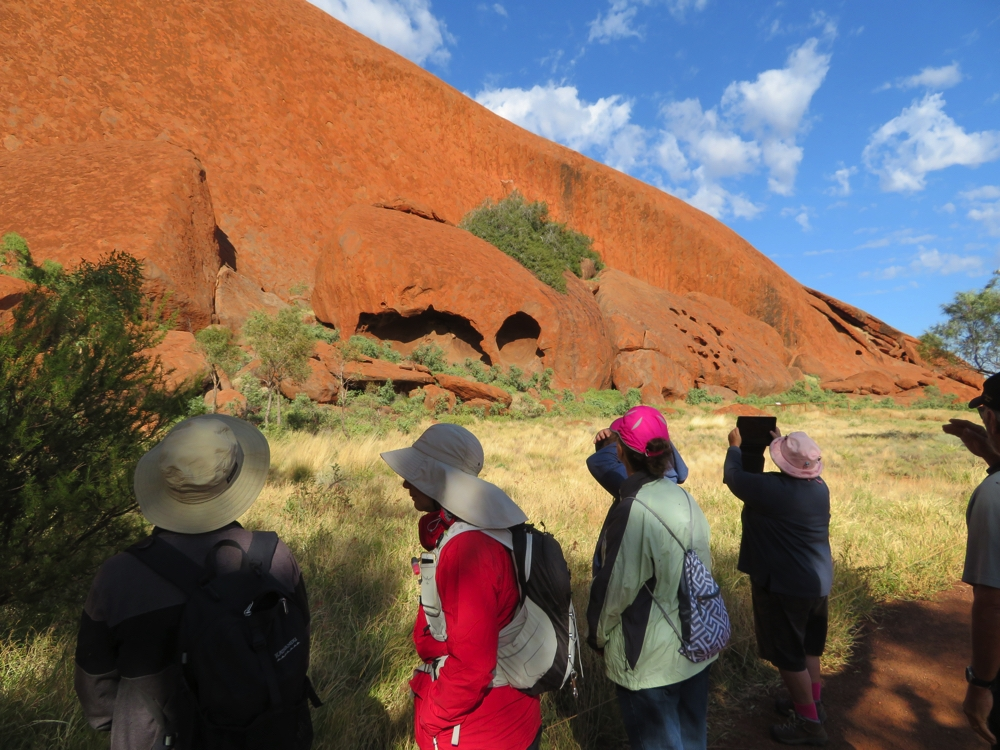The ranger-guided Mala Walk at Uluru. Yes that is me in the red coat - yes, it was cold when we first started.