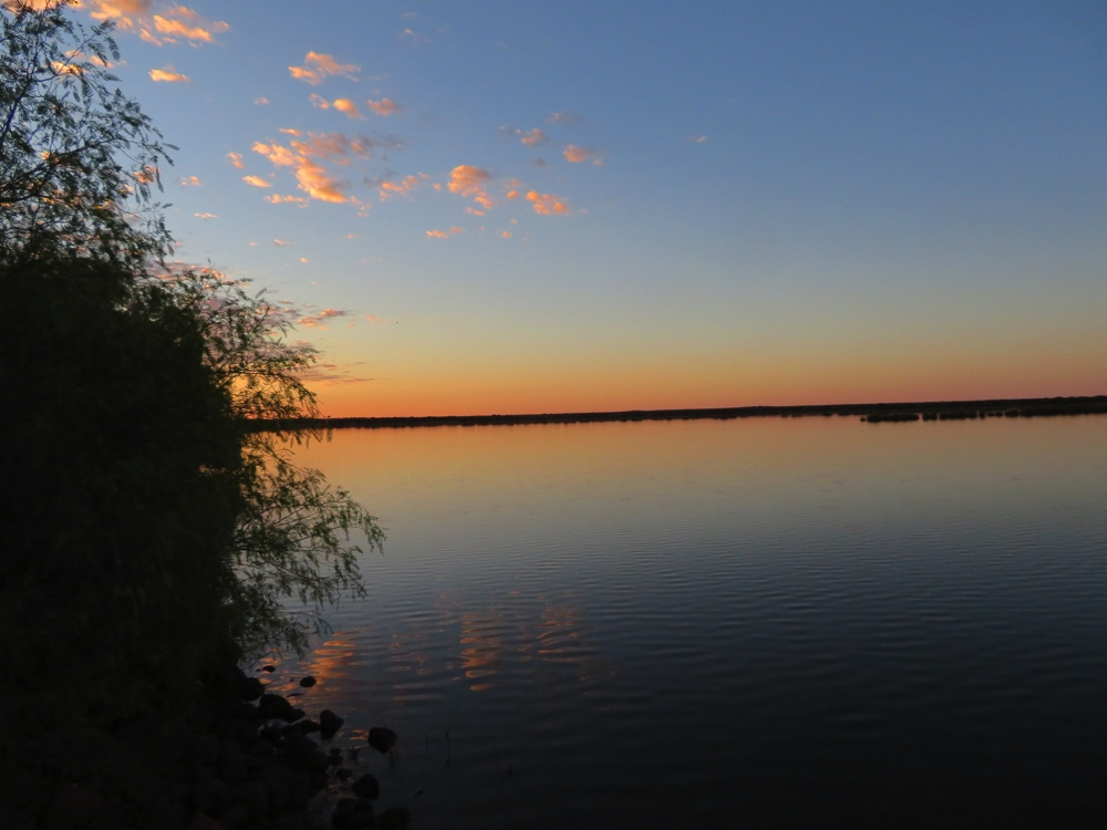 Sunset over Malcolm Dam outside Leonora.