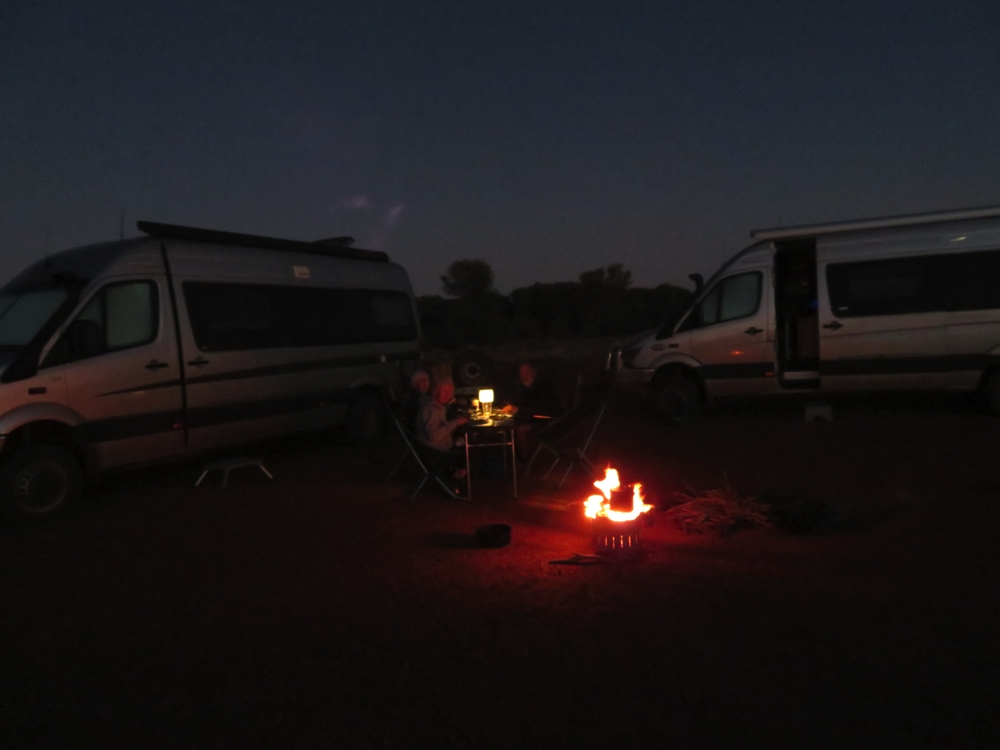 Dinner by firelight at Nullye Soak.