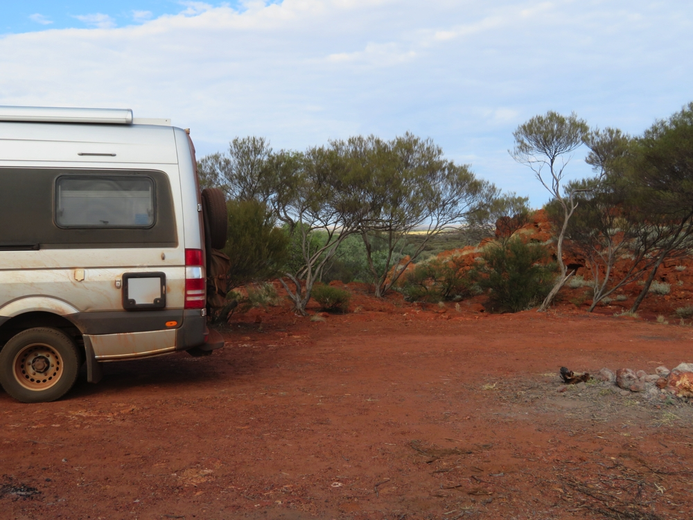 Looking through the gap, over the escarpment at Rock Hole campsite.