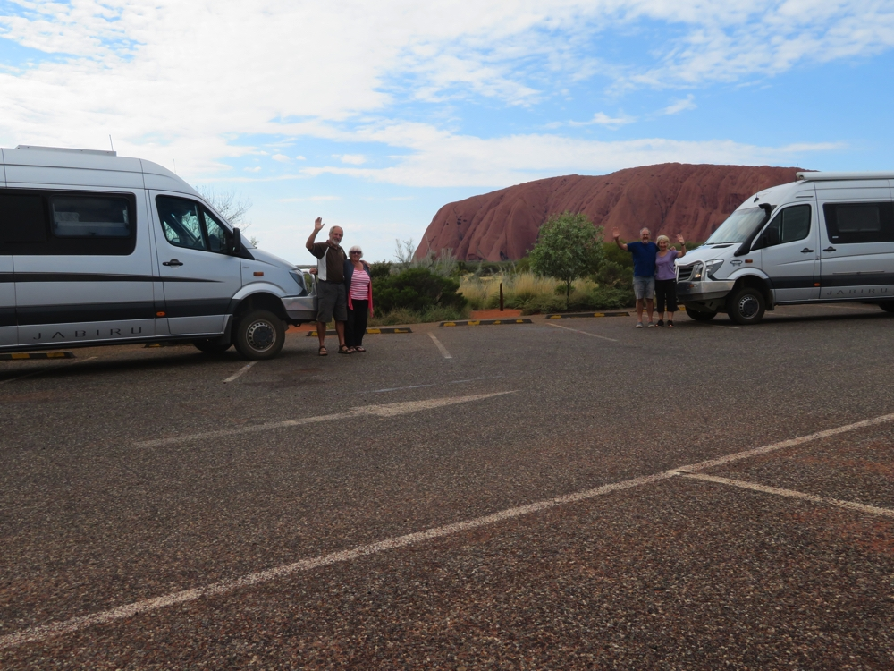 The Gourlays and the Fishers with our Trakkas at Uluru.