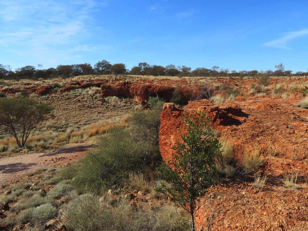 These escarpments, or breakaways, are common in this country. This is at White Cross.