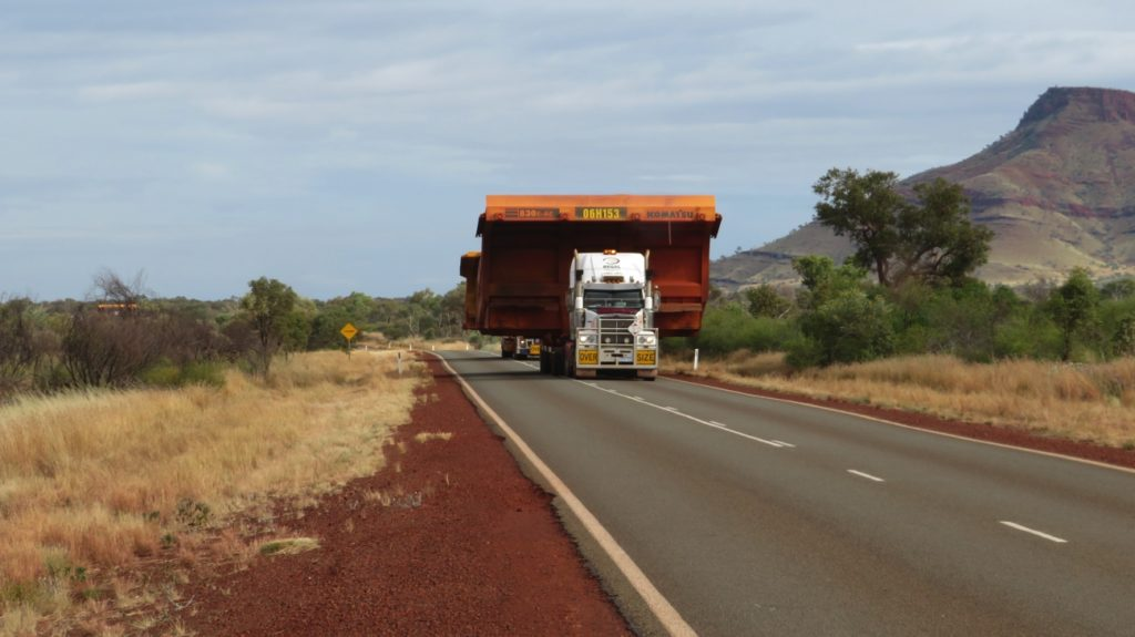 Yes, we're well off the road - don't want to cramp these two trucks and their loads.