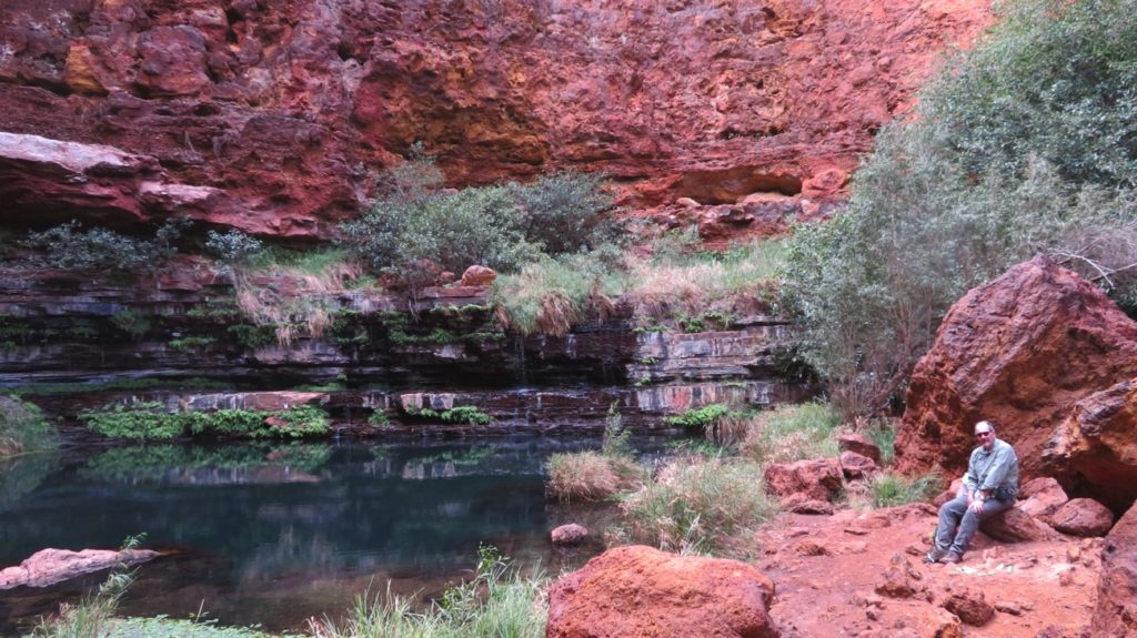 Steve being meditative at Circular Pool, Dales Gorge.