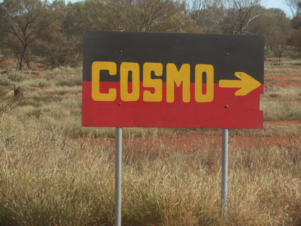 Right, got it! That's the way to Cosmo. And with the colouring of the sign I don't think I could go too far wrong in assuming it's an aboriginal township.