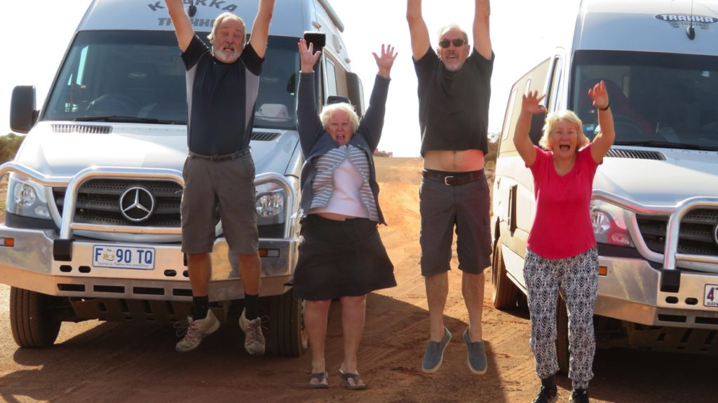 Yay - we've hit the bitumen. 1100km of dirt roads behind us.