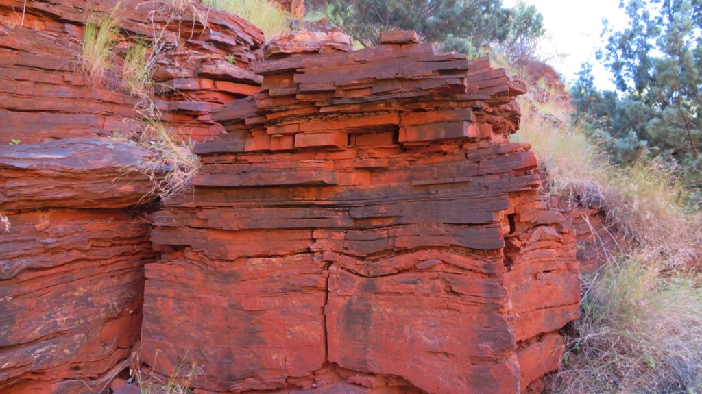 The magnificent compressed rock layers of Karijini. It looked like a large text book had been placed open, face down, and a whole lot of books stacked on top of it.