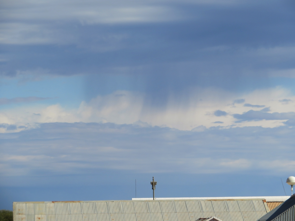 Virga - the rain that is falling from a cloud but evaporates before it hits the ground. We saw a lot of it out here - must be because the atmosphere is so dry.